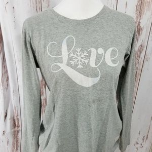 Life is Good heather gray snowflake love tee shirt